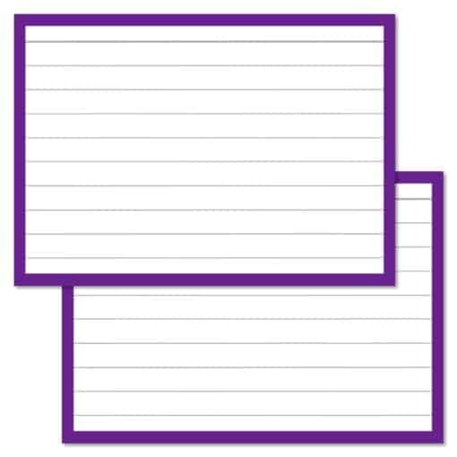 Paarse flashcards A7 formaat