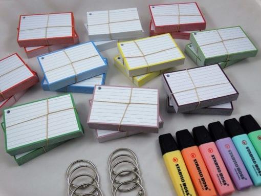 Colour Pack M 1000 A7 flashcards 10 klikringen Stabilo Boss Pastel stacks