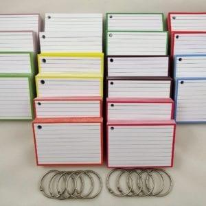 Pakket kleur 1000 A7 flashcards inclusief perforatie en 10 klikringen front