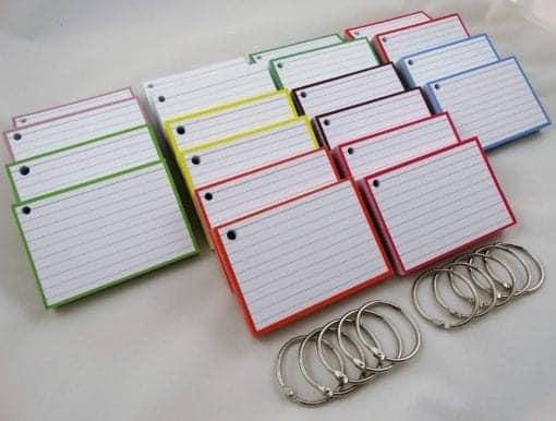 Pakket kleur 1000 A7 flashcards inclusief perforatie en 10 klikringen side