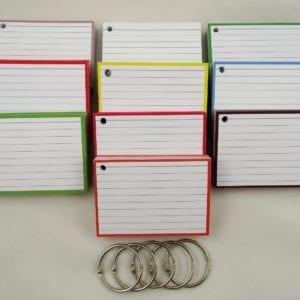 Pakket kleur 500 A7 flashcards inclusief perforatie en 5 klikringen