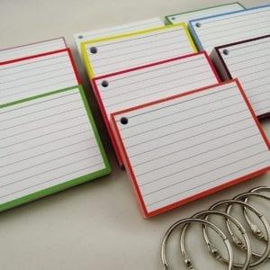 Pakket kleur 500 A7 flashcards inclusief perforatie en 5 klikringen zoom