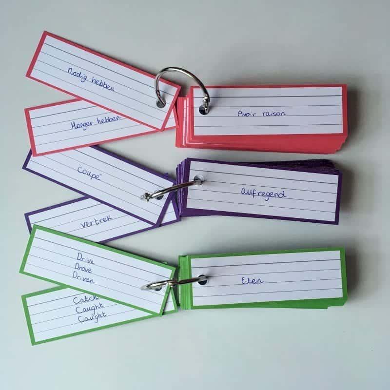 Woordjes leren met flashcards voor Engels, Duits en Frans