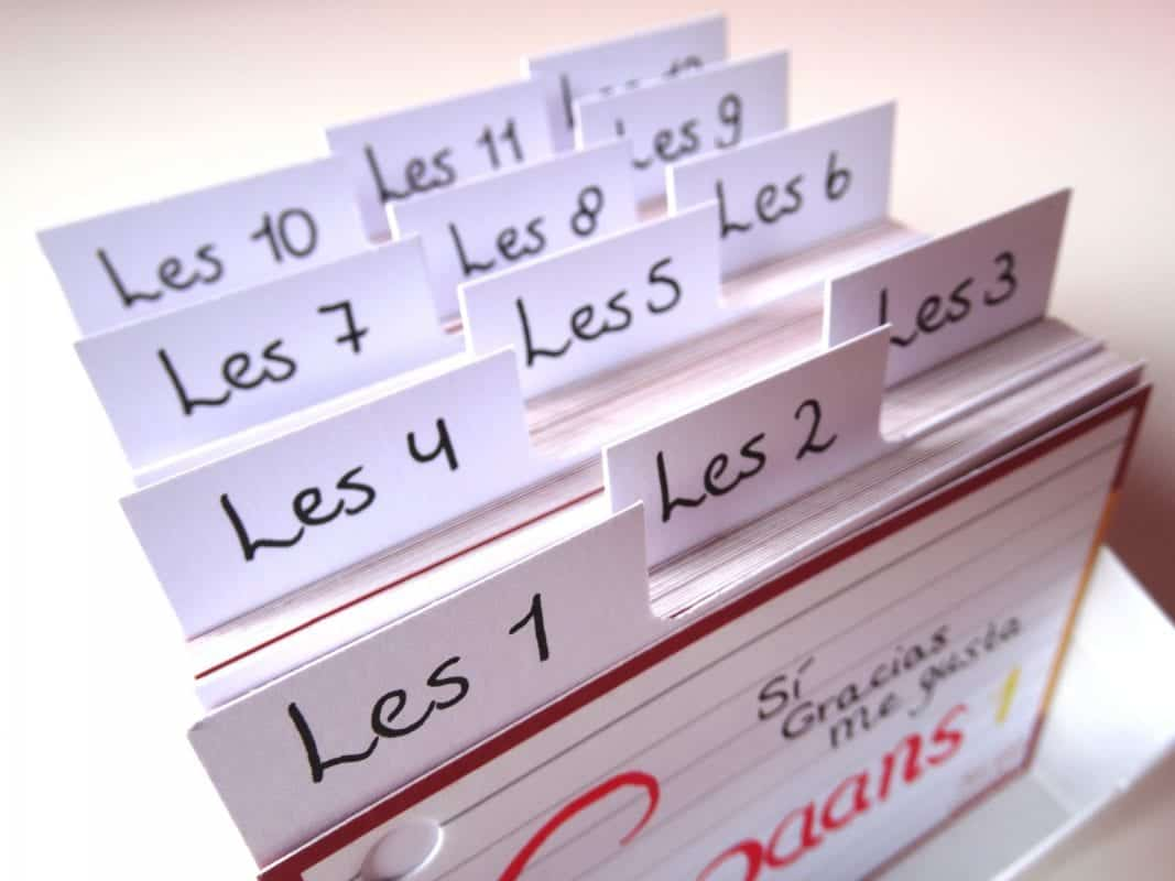 Tabbladen A7 formaat flashcards 12 stuks in boxje