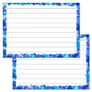 Blauwe confetti flashcards