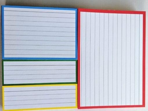 Proefpakket flashcards rood blauw geel groen