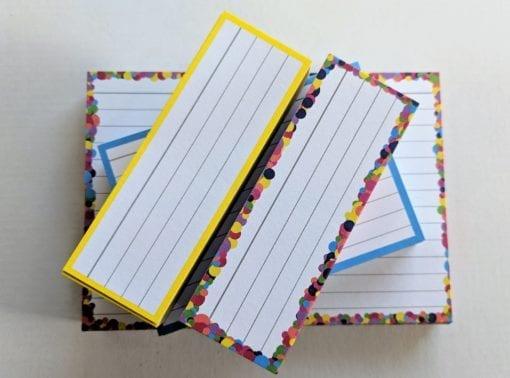 Proefpakket flashcards geel confetti blauw