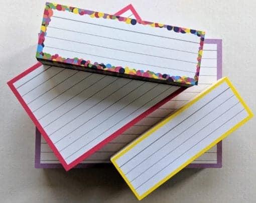 Proefpakket flashcards confetti roze geel lila