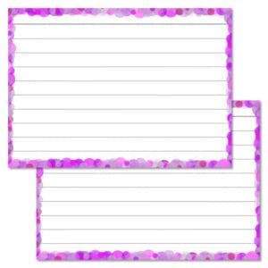Lila confetti flashcards