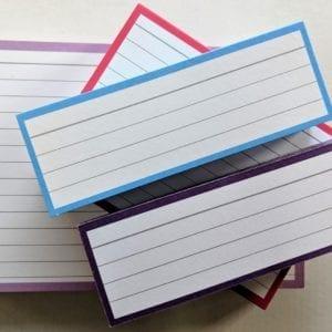 Proefpakket flashcards roze blauw lila paars