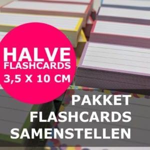 Pakket halve flashcards samenstellen