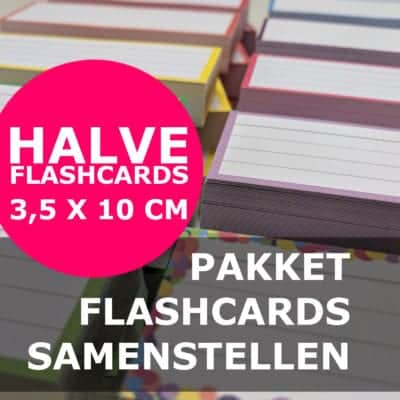 Pakket halve flashcards samenstellen