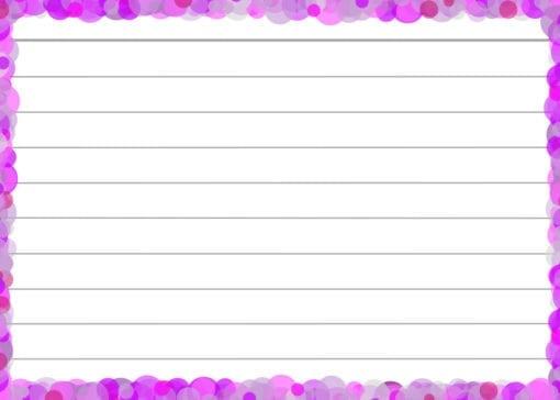 Lila confetti flashcards back