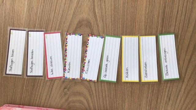 halve flashcards met dagindeling