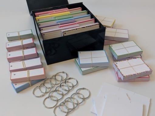 Luxe combipakket 1500 flashcards A7 A6 en half formaat met klikringen, tabbladen en cadeaubox