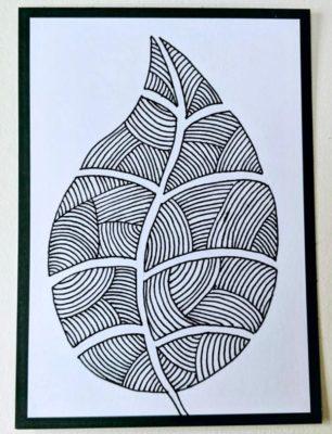Flashcards Zwarte rand Zentangle Leaf Rotring
