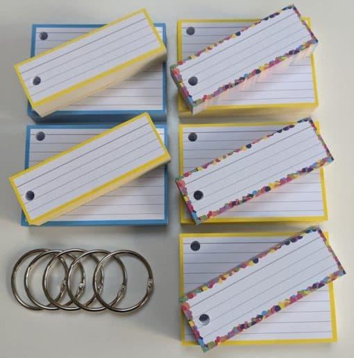Combipakket 250 flashcards A7 250 flashcards Half - met perforatie blauw geel confetti