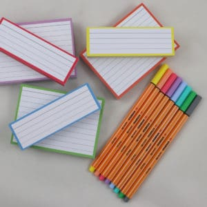 Cadeaupakket 150 A7 flashcards 150 Halve flashcards + Stabilo Point 88 Pastel 8 kleuren